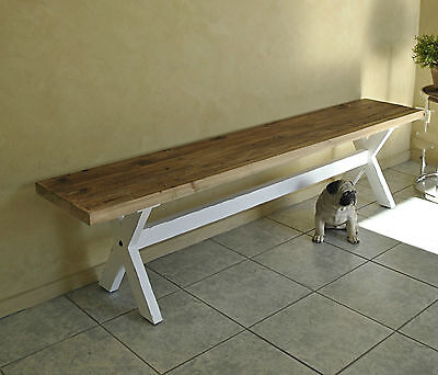 Rustic French Provincial Style Country Farmhouse Trestle Base Bench Seat / Pew