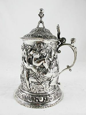 Antique French Silver Wine Tankard, Bacchus Scene, C 1870's Makers  Mark