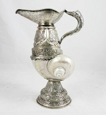 Antique Indian Claret Jug With Silver Plated Body & Mop Shell C 1890's