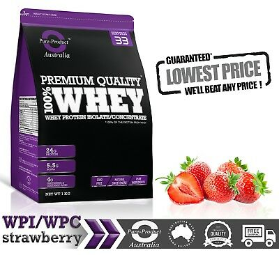 4Kg -  Whey Protein Isolate / Concentrate - Strawberry   Wpi Wpc Powder