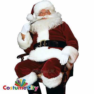 Deluxe Christmas Imperial Plush Red Santa Claus Suit Fancy Dress Costume
