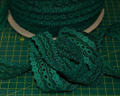 GREEN Eyelet Lace 30mm x 10m, Insertion Lace, Knitting Lace