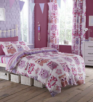 Catherine Lansfield Owls Childrens/Kids Girls Quilt/Duvet Cover Bedding Set