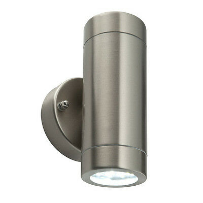 SAXBY 54644 Palin LED Outdoor IP44 2x35W Wall Light In Brushed Stainless Steel