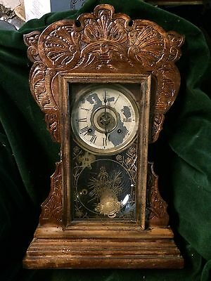 Vintage New Haven Mantle Gingerbread Clock Out Of Attic