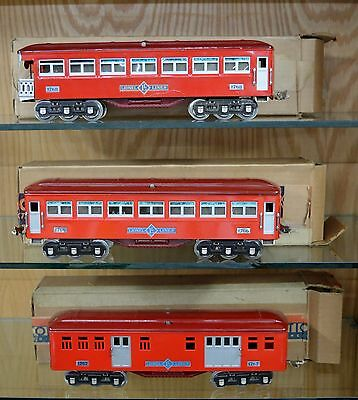 Lionel Standard Gauge 1766 Coach, 1767 Baggage and 1768 Observation Cars EXOB