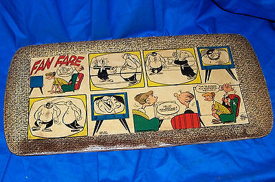 Old 1955 Fan Fare Cartoon TV Tray Drawing Walt Ditzen Vintage Picture Fanfare