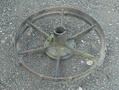 Old Vtg Antique Cast Iron Gear Industrial Repurpose Table Flag Pole Base Wheel