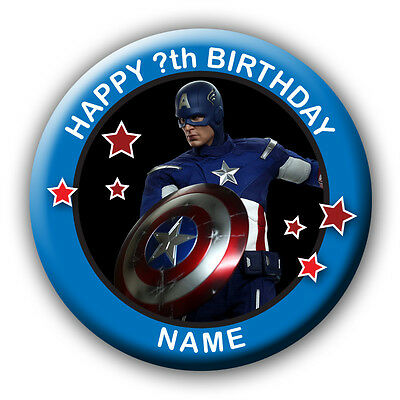 Personalised Captain America Birthday Badges / Fridge Magnets / Mirrors - 58Mm