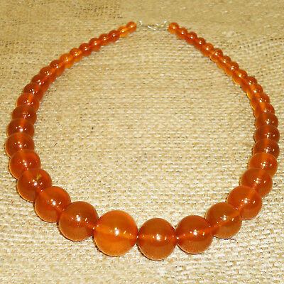 52gr. Very Beautiful Genuine Baltic Honey Egg Yolk Amber Round Beads Necklace 73