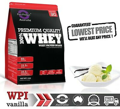 1Kg Whey Protein Isolate Powder  Wpi  100% Pure Vanilla