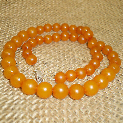 18gr. Great Antique Baltic Amber Butterscotch Egg Yolk Round Beads Necklace, 78