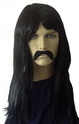 Men's Long Black Hippy/Beatnick fancy Dress Wig &  Droop Moustache Set