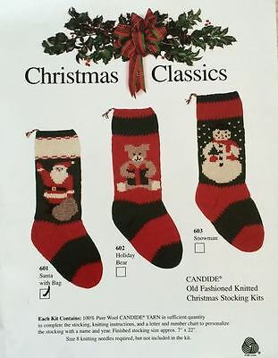 Christmas Classic Stocking Kit- Knitting- Pattern, Yarn Included-  7 Designs!