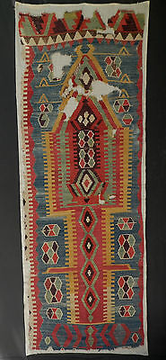Late 18th - Early 19thC. ANTIQUE ANATOLIAN KONYA-OBRUK KELIM FRAGMENT. A+ Color