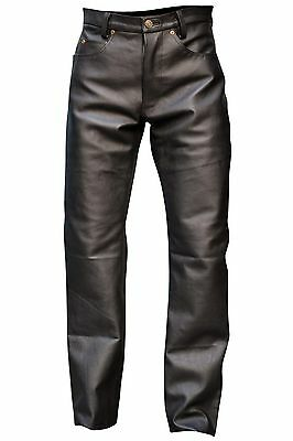 Men's Black Cowhide Leather Button Fly Jeans Style Five Pockets Pant Brand New