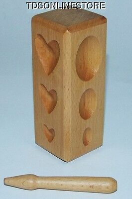 Hardwood Dapping  Block - Teardrops,Hearts,Ovals And Round Depressions