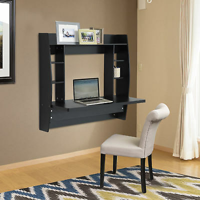 HOMCOM Wall Mounted Floating Desk Computer Table w/ Storage Home Furniture Black