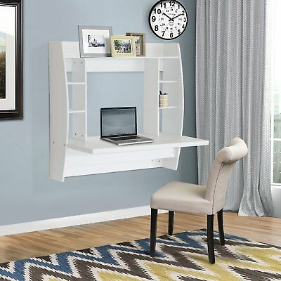 Wood Floating Desk Wall Mount Computer Table Laptop Workstation w/ Storage White