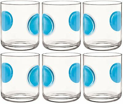 6 x Bormioli Rocco Giove Water Tumbler Glasses - Sky Blue - 310ml