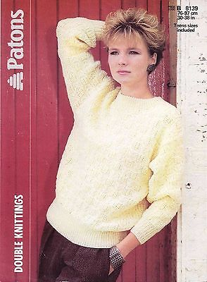 Patons 8139 Rib And Cable Sweater Knitting Pattern #15766