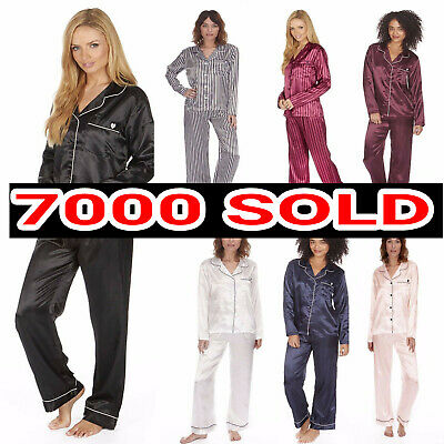 Ladies Satin Silk Pyjama Set Silky Summer Lounge wear Pajamas long sleeve pjs