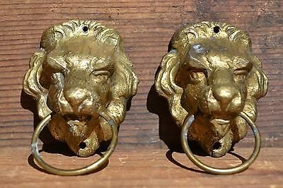 """Early PAIR Old Vintage 2 Brass """"Lion Heads"""" Heavy Furniture Pulls Knobs Heavy"""
