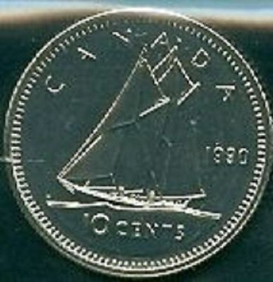 1990-PL Proof-Like Dime 10 Ten Cent '90 Canada/Canadian BU Coin Un-Circulated