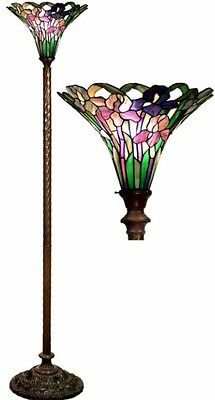 Antique Tiffany-style Iris Torchiere Lamp Tiffany Lamps Torch Floor Glass Metal