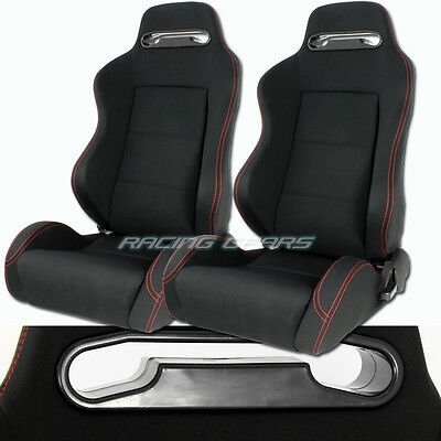 2x For Acura Honda Black Cloth Red Stitching Reclining Racing Seats + Sliders