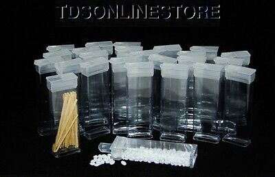 """Rectangle Clear Plastic Storage Tubes With Flip Tops 3"""" Pack of 100"""