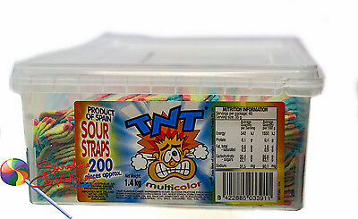TNT- MULTI-COLOURED SOUR STRAP LOLLIES  -  200 pieces sour straps Post Included