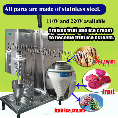 free shipping,yogurt fruit ice cream blender/mixer machine, steel big cone cup