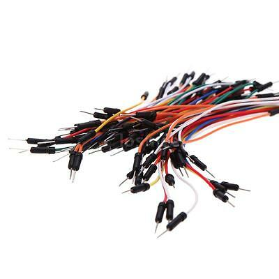 65pcs PCB Breadboard Plug Wires Bread Board Solderless Cable Tie Jumper Line LS