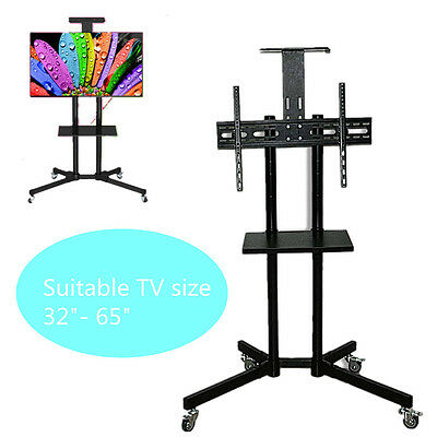 LCD LED Plasma Mobile TV Cart Universal TV Stand with Wheels fits 32-65 inch TV
