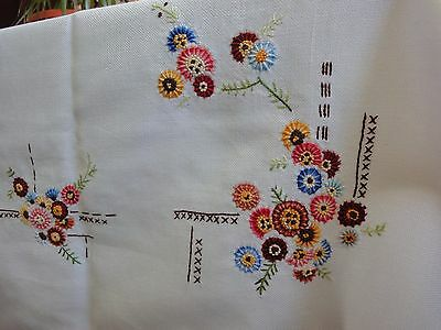 Vintage Hand-Embroidered Cotton Ivory Tablecloth with  Multi-Color Flowers