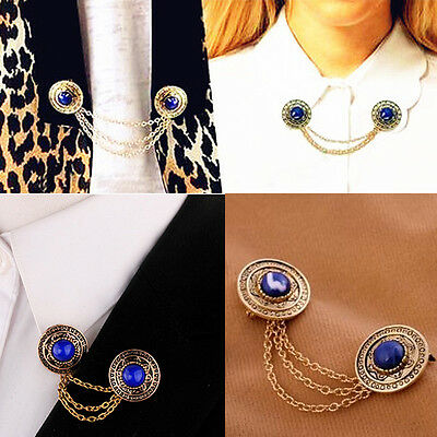 Retro Collar Clip Punk chain Blouse Shirt Blue Rhinestone Pin Brooch Boho Tassel
