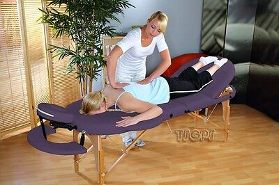Portable Oval Massage Table Reiki Couch 3-section purple
