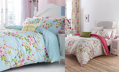 Catherine Lansfield Canterbury Floral Duvet Quilt  Cover Set in Red or Blue