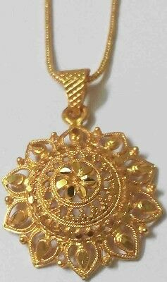 "18k 22k 24k Yellow Thai Baht Gold Plated Pendant 18"" Indian Necklace Rope Chain"