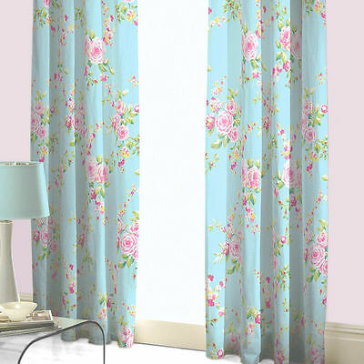 """Catherine Lansfield Canterbury 66""""x72"""" Fully Lined Floral Curtains Red or Blue"""