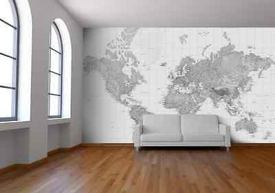 Black and White World Map Wallpaper, Map Mural - Printed in England! *NEW*