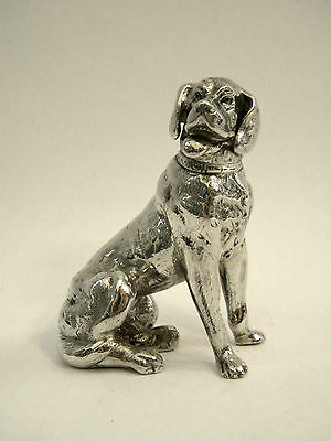 Antique Continental Silver Dog Model / Figure Import Mark Chester 1914