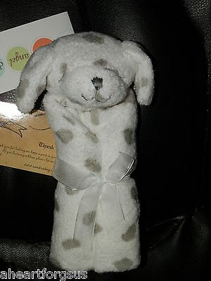 Angel Dear SECURITY BLANKET Dog Dalmation White Gray Puppy Soft ROLLED SOFT NWT