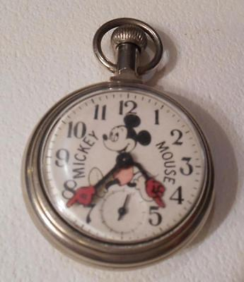 Rare Old Walt Disney Mickey Mouse Model 90001 Pocket Watch Works ***special*** Excellent In Quality