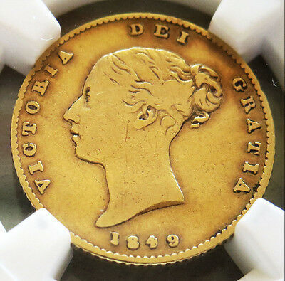 1849 Gold Great Britain Shield Reverse 1/2 Sovereign Coin Very Good 10