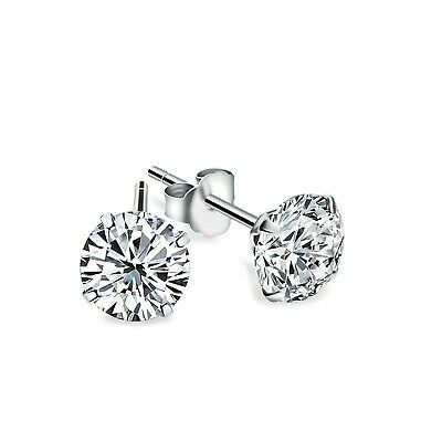 2.5Ct Created Diamond Martini Earrings 14K White Gold Solitaire 4-Prong Studs