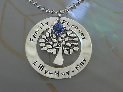 Personalised  Hand Stamped Family Forever Names Or Wording Tree Of Life Pendant