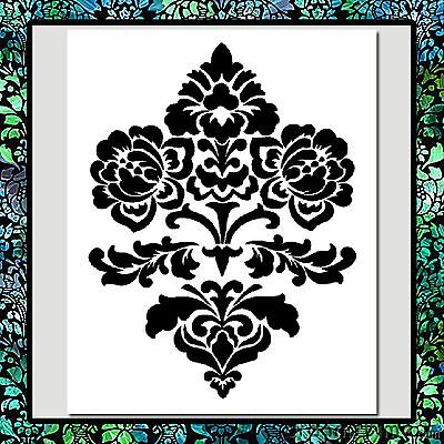 9 x 11 floral flowers damask design pattern stencil wall texture