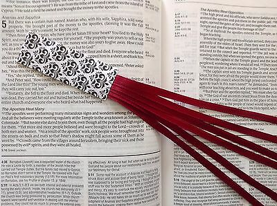 Bookmark ribbons, multi page for Bible, hardcover books BURGUNDY handmade